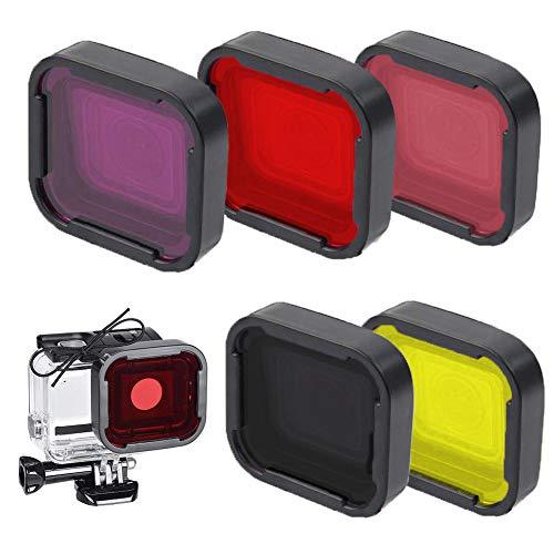 5 pcs Filtros de Buceo para GoPro Hero 4/3 al Agua de Acción Accesorios de Cámara Filtros de Corrección,Rojo, Amarillo, Gris, Morado, Rosa Filtro de Lente Bucear Bajo Agua Mejorar Color