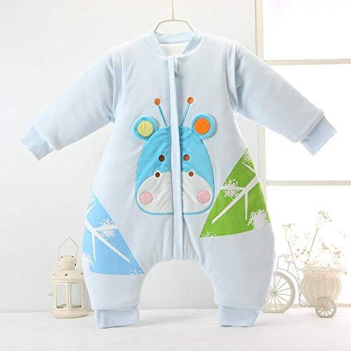 Baby Kid peuter fleece slaapzak, gebreide katoenen babyslaapzak met gespleten pijpen-8825 blue_L1-2 jaar oud, baby-inbakerdeken voor kinderwagen