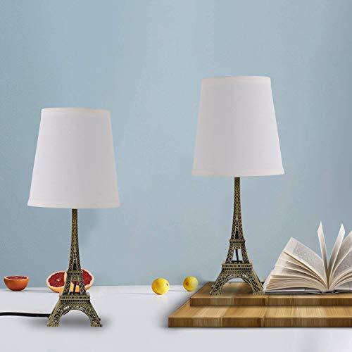SHACOS 2er Set Nachttischlampe Retro Eiffelturm LED Tischleuchte Metall Tischlampe Braun für Büro,Studentenwohnheim, Kinderzimmer, Wohnzimmer