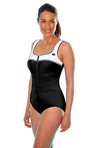 Aquamore Chlorine Resistant White Color Block Front ZipperOne Piece Swimsuit Size 16