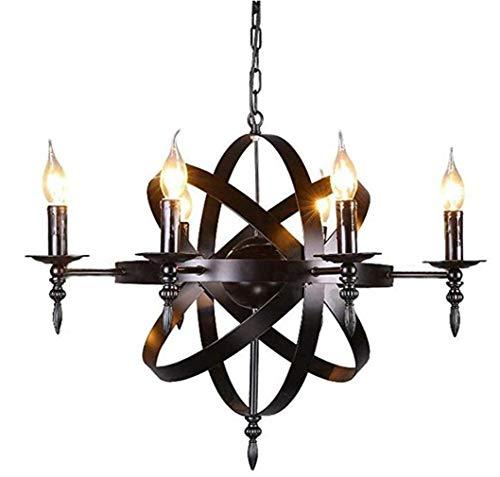 Dagea Schloss Stil Mittelalterliche Anhänger Deckenleuchte - Rund Kerze Kronleuchter Black Metal Rustikaler Stil Schmiedeeisen Hängeleuchten Für Wohnzimmer Flur 6 Leuchten