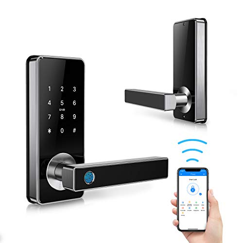 Tiffane Smart Fingerprint Door Lock with Touchscreen, 5-in-1 Keyless Entry Biometric Fingerprint Door Lock Passcode WiFi Bluetooth Card Key for Office Home Apartment (Silver)