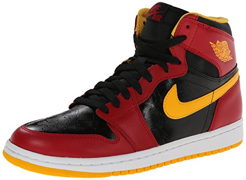 Nike Air Herren Jordan 1 Retro High Og Fitnessschuhe, - Schwarz / Gym Red / University Gold - Größe: 46 EU