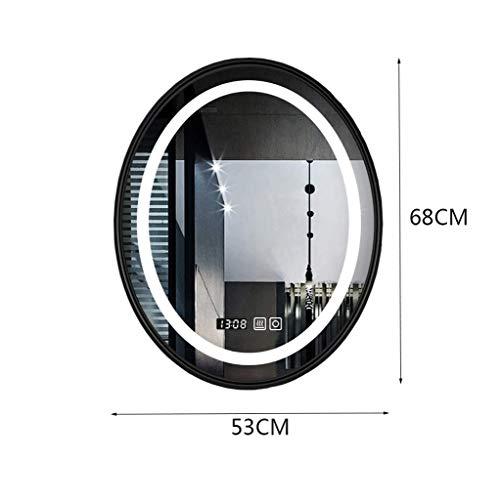 MU Intelligenter LED-Lichtspiegel zur Wandmontage für den Haushalt Ovaler, lichtemittierender Badspiegel,Schwarzer Rahmen weißes Licht,53 * 68 cm