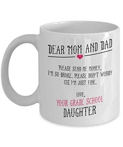 Geliefde mama en papa Stuur me me geld Ich Bin so pleite ouders beker mama mok papa cadeau voor dochter zoon aanwezig familie cadeau-idee