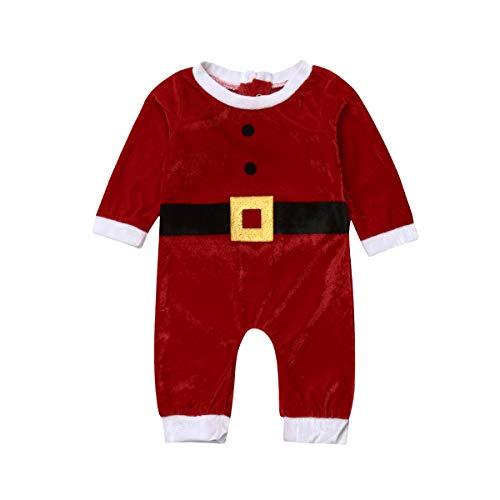 Bebé Recién Nacido Navidad Mono Disfraz de Papá Noel para Niños Niñas Mameluco Invierno Bodysuit Pijama Algodón Sleepsuit (3-24 Meses)