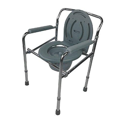 Mobiclinic, Puente, Silla WC, Inodoro para discapacitados, minusválidos, ancianos, Reposabrazos, Asiento ergonómico, Acero cromado, Conteras antideslizates