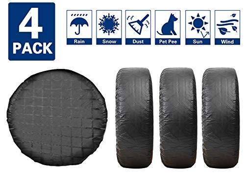 "VIEFIN Set of 4 Wheel Tire Covers for RV, Trailer, Truck, Camper, Motorhome, Van, Auto Car,PEVA Fabric, Waterproof Sun Rain Snow Protectors(PEVA-Black,Fit 33"" to 35"" tire Diameter)"
