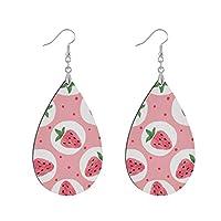 イヤリング ピアス 耳飾り 揺れる 木質 女の子 レディース おしゃれ 人気 果物 苺 ピンク いちご 彼女 プレゼント アレルギー対応 両耳