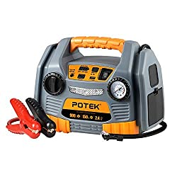 POTEK JS86 Jump Starter Source with Tire Inflator/Air compressor