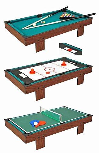 Devesspor - Multijuego sobremesa 3 en 1: billar, air hockey y ping pong - Colocar encima de la mesa de tu salón o zona de juegos - Multijuegos niños y adultos - Jugar con familia y amigos