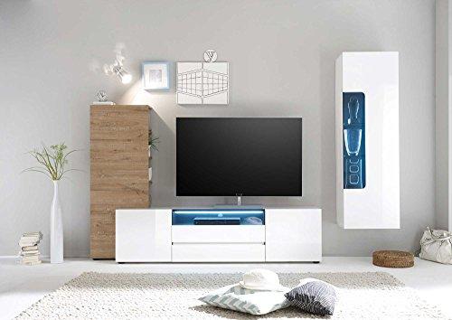 lifestyle4living Anbauwand, Wohnzimmerschrank, Wohnwand, Schrankwand, Fernsehwand, Wohnzimmerschrankwand, Wohnschrank, Hochglanz, weiß, Glanz, Lack, Eiche Natur-Dekor