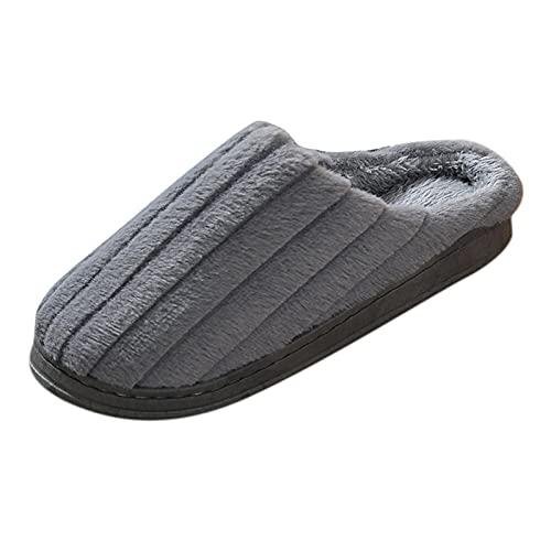 Pantoffeln Herren Geschlossen Plüsche Wärme Filzpantoffeln Slippers Wolle Lammfell Pantoffeln Warme Anti-Rutsch Slide Flache Lustig Winterhausschuhe