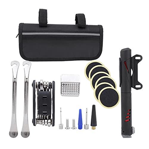 JJSCHMRC Kit de reparación de bicicletas Herramientas de reparación de mantenimiento de bicicleta con bolsa de sillín mini bomba neumático herramienta práctica accesorios bicicleta montaña kit parche
