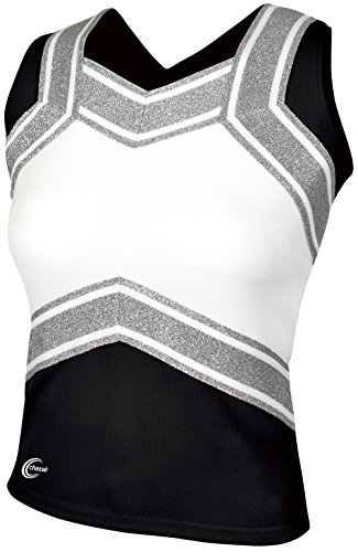 Chassé Girls' Blaze Shell Top Black/White/Metallic Silver Youth Small