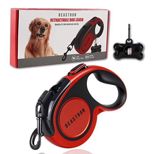 """(Upgraded) Beastron Heavy Duty Retractable Dog Leash, 16"""" Extra Long Tangle-Free Reflective Nylon, Medium to Large Dogs up to 110lbs, One Button Lock/Unlock, Waste Bags and Dispenser Included (Red)"""