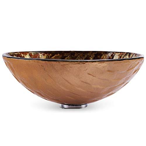 NANXCYR Bagno Rotonda Artistico vaas van gehard glas, modern glas, bowl combo met pop-up afvoerset