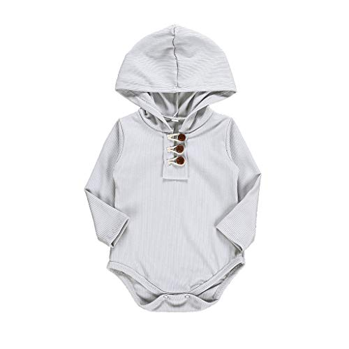 WOCACHI婴儿连帽哈衣,襁褓中的婴儿女孩男孩固体长袖连身衫紧身衣服的服装艺术节精品游戏我首先第一个圣诞装饰孕妇小老板格雷