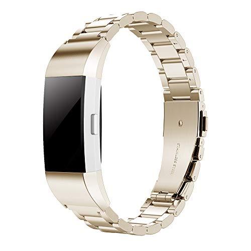 Simpeak Armband Kompatibel für Fitbit Charge 2, Edelstahl Metall Uhrenarmband Armbänder Kompatibel mit Fitbit Charge 2 - Champagner Gold