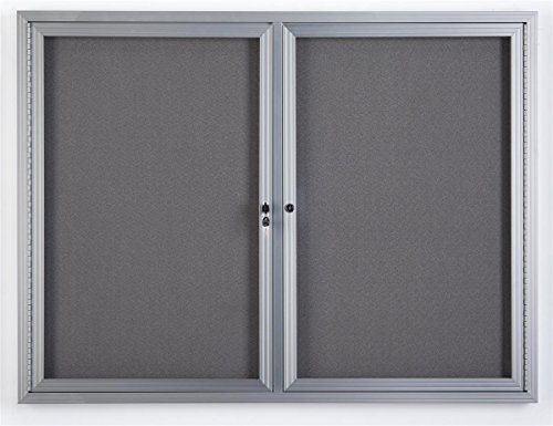 Displays2go 48 x 36 Inch Wall Mounted Enclosed Bulletin Board with 2 Doors, Locking, Aluminum (FBSW43SVLG)