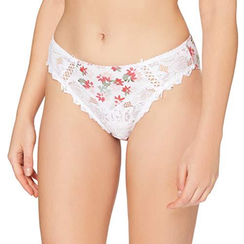 Sans Complexe Arum Print 60PAE70 Slip, Imprime Fleurs Blanc, 42 Femme