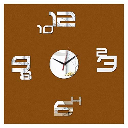 Restaurante familiar Cocina Reloj de pared Decoración para el hogar Mirror acrílico Reloj de pared Caja fuerte de diseño moderno Big Digital Reloj de cuarzo Etiqueta engomada ( Color : 3/8' )