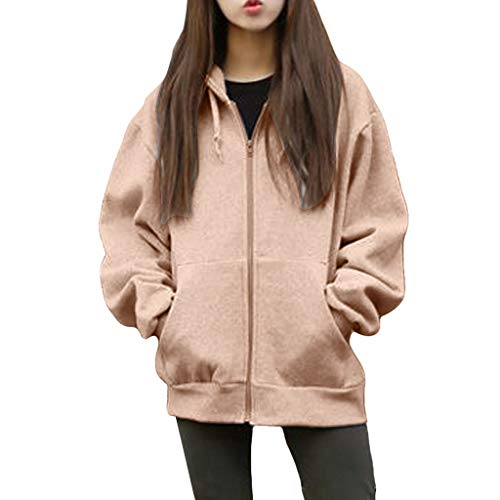 Vrouwen Sweatshirt Jas, Dames Lange Mouw Zip Up Pocket Hooded Losse Vest Top, Herfst Winter Warm Jas Jas