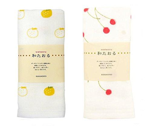 HAMAMONYO Nassen Dye - Juego de 2 toallas de gasa (Yuzu y cereza)