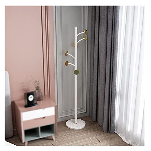 LZL Rack de Capa de Hierro nórdico de 180 cm, Soporte de Abrigo de Madera Maciza, árbol de la Capa de salón de pie para Abrigos, Sombreros, Bolsas, Bolsos, para Entrada (Color : White)