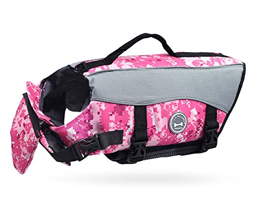 Vivaglory Dog Life Jackets with Extra Padding Pet Safety Vest for Dogs Lifesaver Preserver, Camo Pink, Medium