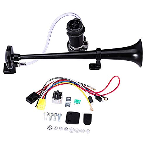 Fasclot 12V 150DB 18Inch Loud Single Chrome Trumpet Kit Air Horn Compressor Truck Boats