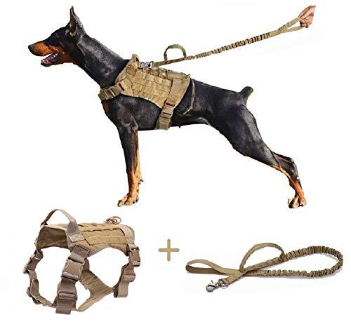 Ducomi Arnés Táctico Militar + Correa para Perro K9, Perros de Entrenamiento y de Trabajo - Arnés Chaleco para Perros Medianos, Grandes, Pastor Alemán, Pitbull, Rottweiler (Khaki + Correa, XL)