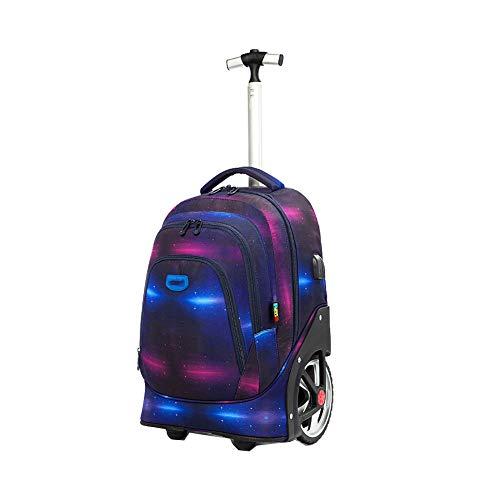 Mochila de banco móvil para niños de escuela primaria Maleta de nylon impermeable para niños con mochila de viaje con carga USB, Carro de estudiantes