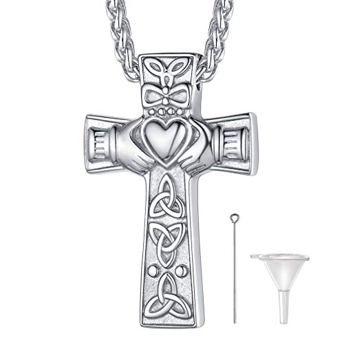 FaithHeart Cross Cremation Jewelry for Ashes Human Urn Holder Pet ERN Keepsake Necklace Celtic Knot Accessories