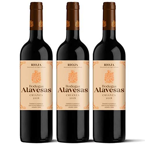 Bodegas Alavesas – Vino Tinto Crianza 2018 Denominación de Origen Calificada Rioja, Variedad Tempranillo, 12 meses en barrica – Caja de 3 botellas x 750 ml – Total: 2250 ml