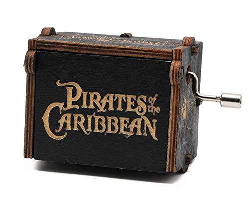 Cuzit Caja de música de juguete de piratas del Caribe de madera con manivela musical para regalos de cumpleaños/Navidad/Día de San Valentín