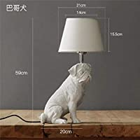 装飾テーブルランプ動物子犬Ledテーブルランプ現代寝室のベッドサイドランプリビングルーム装飾ライト樹脂工業用照明器具バゴー