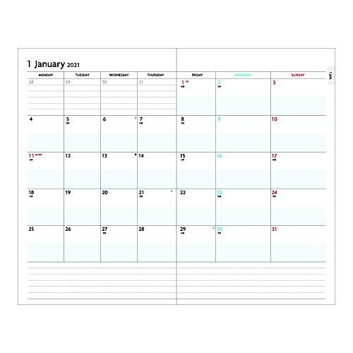 マークス手帳2021スケジュール帳ダイアリーEDiTマンスリー2020年12月始まりA5スリム週末重視の月間手帳スープル21WDR-ETJ01-BK