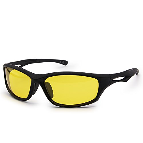 AMZTM Reducir El Resplandor Gafas De Conducción Nocturna De Hombre Irrompible TR90 Marco Deportes Gafas De Sol Polarizadas para Ciclismo Equitación Corriente Pesca Peso Ligero Protección 100% UV400