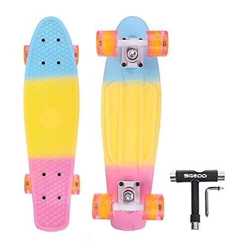 Skateboard for Kids Ages 6-12, SGODD Skateboards for Girls Longboard Skateboards 22'' Mini Cruiser Skateboards with LED Wheels, Kids Skateboards for Beginners Girls Boys Teens Youths