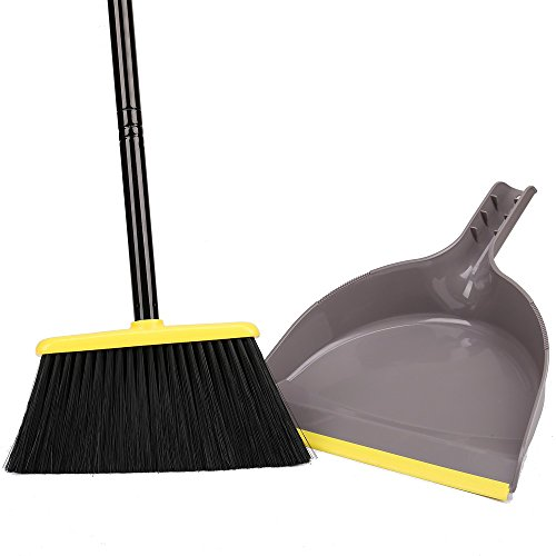 Angle Broom with Dustpan,Dust pan Snaps On Broom Handles