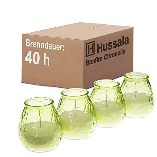 Hussala Bonfire Citronella Duft Kerzen mit Windlicht-Glas (Outdoor & Indoor-Kerze) Brennzeit 40 h - grün [4 Stück]