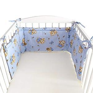 BlueberryShop Protector de Cuna, 150 x 35 x 4 cm, Para Niños de 0 a 3 años, 100% algodon, Azul Oso en una escalera