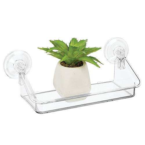mDesign Estante de pared pequeño – Práctica estantería flotante, ideal para colgarla en ventanas o espejos – Organizador de pared de plástico resistente – transparente