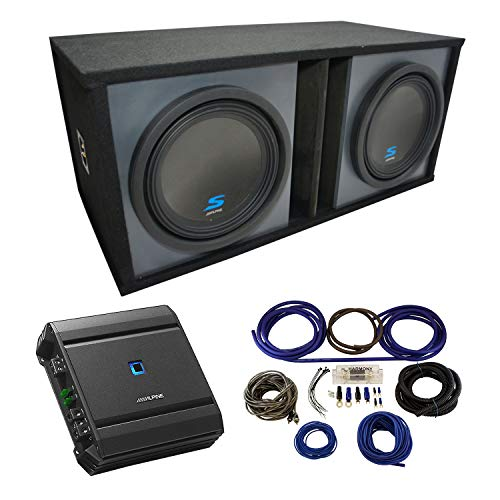 Universal Car Stereo Paintable Ported Dual 12' Alpine Type S S-W12D2 Sub Box Enclosure with S-A60M Amplifier & 4GA Amp Kit