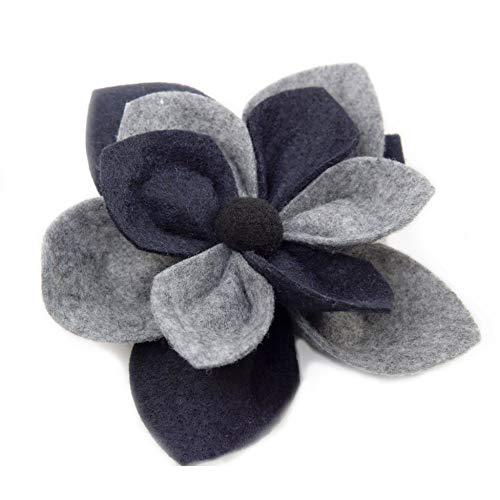 OiA |Broche de Flores Hecho a Mano, para Llevar con un Abrigo, suéter, Gorro, Bufanda o Bolso, para Mujeres. (Grey + Navy)