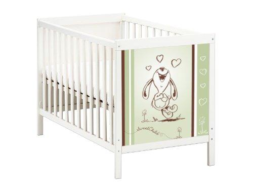 STIKKIPIX Happy Rabbit in grün Möbelsticker/Aufkleber für das Babybett SUNDVIK von IKEA - SB04 - Möbel Nicht Inklusive