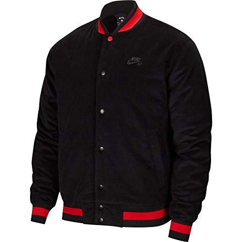 Nike SB Corduroy Skate Bomber - Chaqueta para hombre, color negro y rojo negro, rojo y negro XL