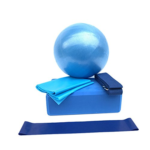 Prom-near Set de Yoga de 5 Piezas Pilates Ball para Yoga Pilates Barre Fisioterapia Estiramiento y Core Fitness (Azul)