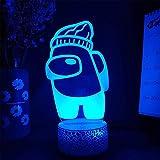 Lámpara Entre Juego Nosotros 3D Ilusión Luces de Noche para Niños Mesa Escritorio Iluminación con Control Remoto, Regalos Juguetes para Niños Niños